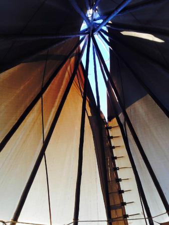 Lodgepole Gallery and Tipi Village: A view of the tipi top after waking up in the morning