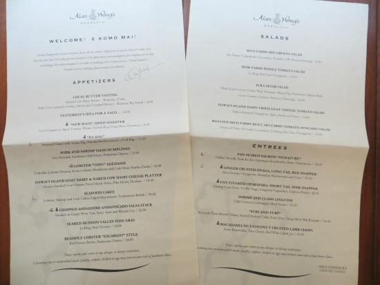 Alan Wong's Restaurant: Alan Wong's menu