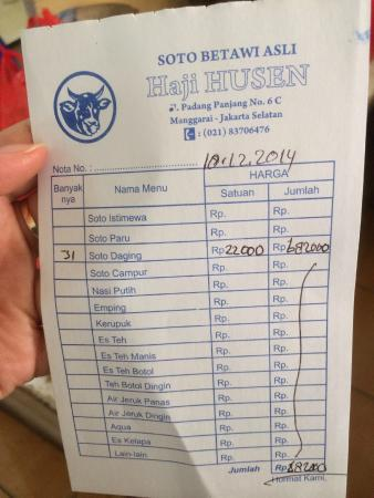 Nota Bill Foto Soto Betawi Bang Husen Jakarta Tripadvisor