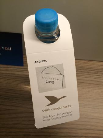 Novotel Glen Waverley: I found this comp water in my room when I arrived. I was touched by the charming message with it