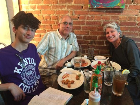 The Buckeye and the Frog: Our family at The Feve for dinner in Oberlin, Ohio, on recommendation of the innkeeper.