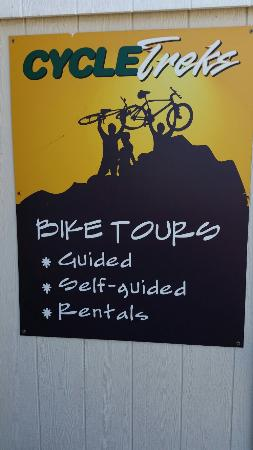 Cycle Treks - Day Tours: Sign outside office
