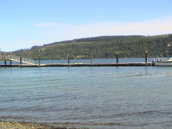 WorldMark Discovery Bay : Past the dock and across the bay from the beach. I'm the guy paddling the inflatable kayak.