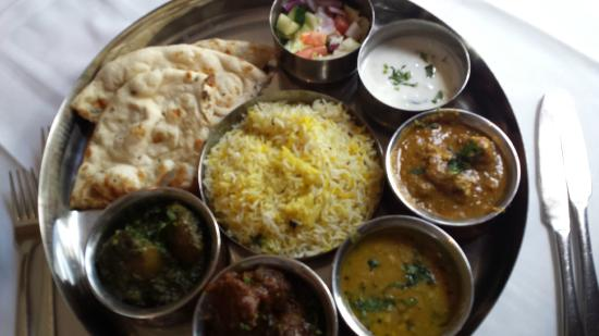 Mala Restaurant Meat Thali Good Selection Including Some Vegetable And Naan Bread