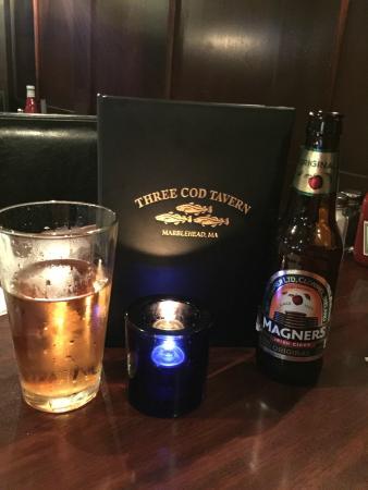 Three Cod Tavern: Magners with Drink Menu