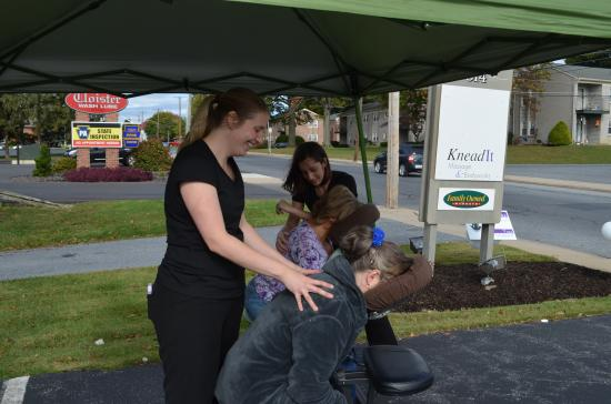 Knead It Massage & Bodyworks: Chair massages at a special event