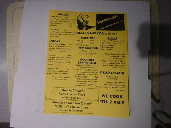 Somerset, Висконсин: Rendezvous Pizza menu