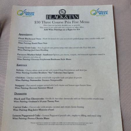 The Black &Tan Grille: Green  Bay Restaurant Week 2015, the Black and Tan menu
