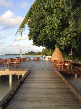 Kuramathi: Dining area that's part over water