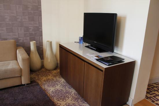 Alden Suite Hotel Splügenschloss Zurich: Living area TV and minibar