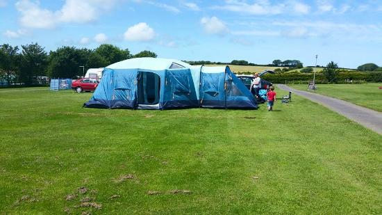 Stowford Farm Meadows: Huge tent on the pitch and still room to play