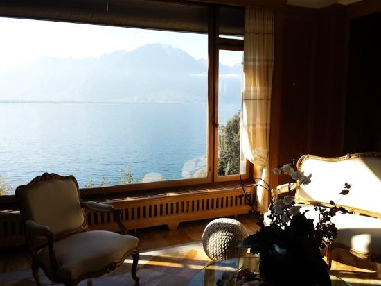 Hotel du Grand Lac Excelsior: View from lobby
