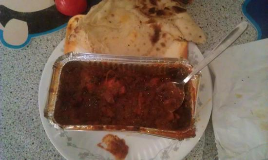 Chicken Pathia with naan bread.