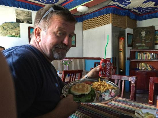 tashi I: Yak burger with fries...in Lhasa