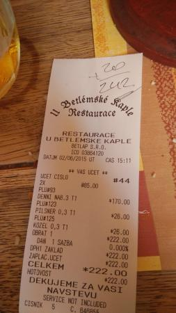 U Betlemske kaple: the bill where they charged us the crackers