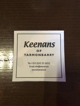 Keenan's of Tarmonbarry : Address