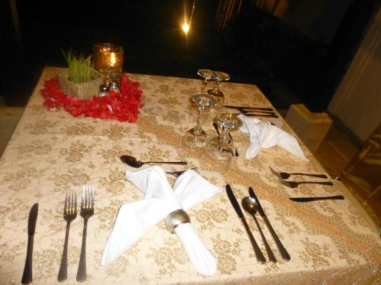 candle light dinner setup in the villa - picture of the ubud