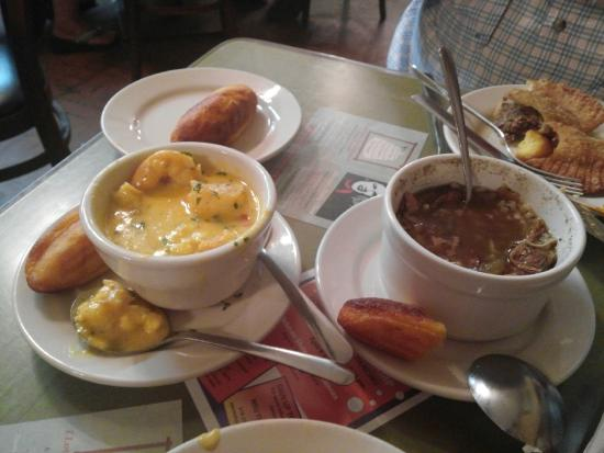 Lasyone's Meat Pie Kitchen: shrimp & grits, chicken & sausage gumbo