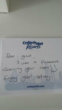 Nice note from the housekeeping staff - Picture of Cedar