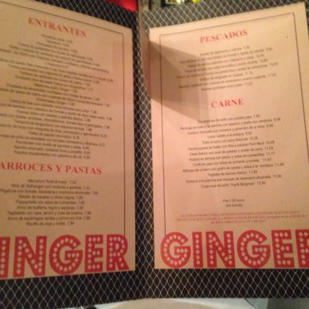 Ginger Madrid Restaurant Menu