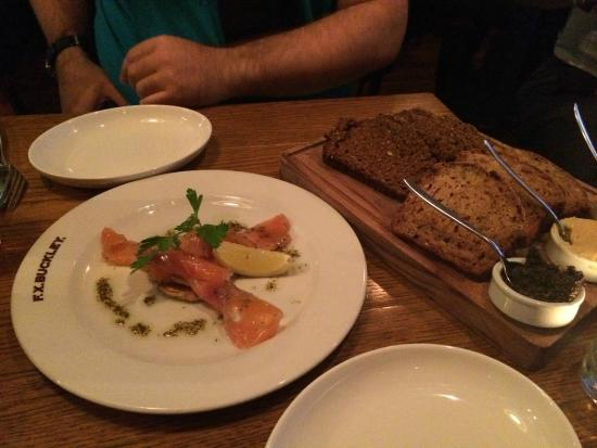 Starters Smoked Salmon And Home Made Bread With Dips