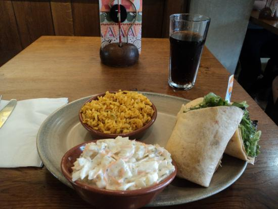 Nando's: Wrap, Coleslaw and Spicy Rice