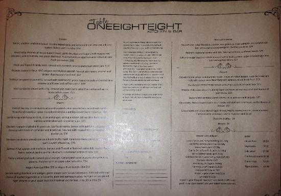 Palmerston North, New Zealand: Menu