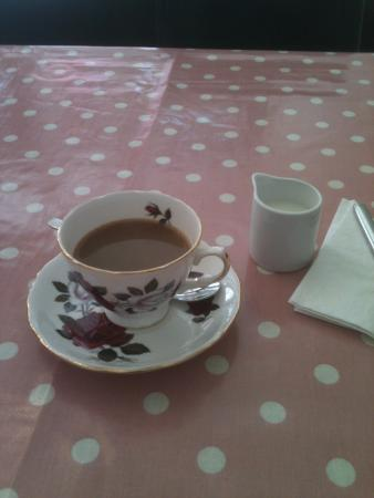 Cafe Delight: A caffitiere of real coffee in vintage china. A real steal at £2.00 per person.