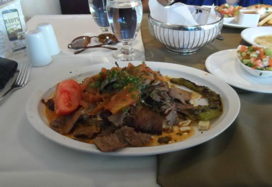 Iskender Kabab over Scalloped Potatoes
