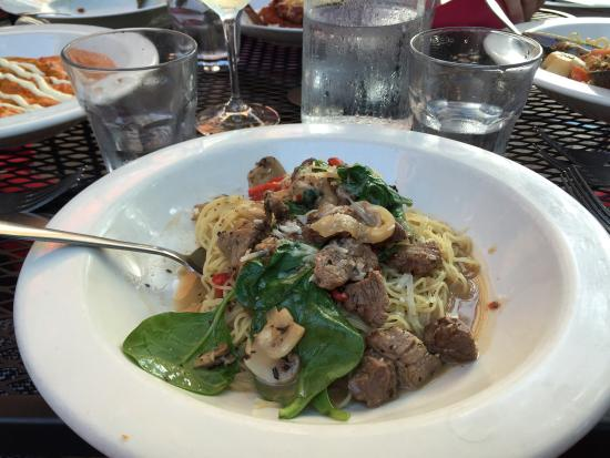 Givanni's: Pepper steak dish, with beef tips, pasta, red peppers, and black pepper.