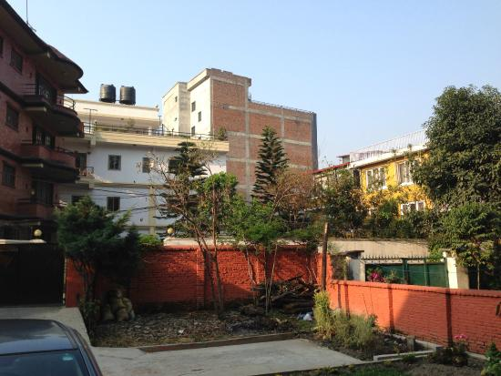 Bhatbhateni, Nepal: View of residential apartments across the lane