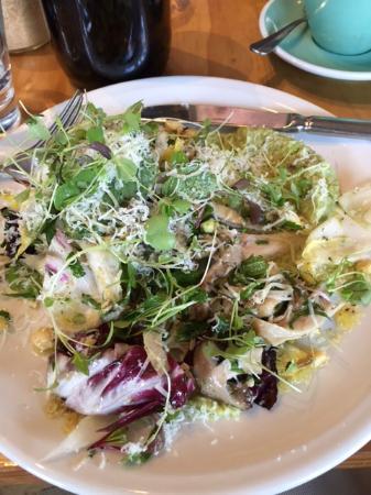 Barry: Warm chicory, mushroom, truffled hazelnuts and pecorino salad