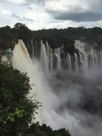 Closeup View Of Epupa Waterfalls In Summer Time The Border Angola And Namibia Stock