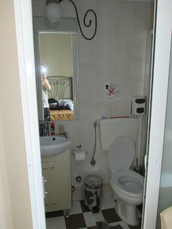 Kimon Athens Hotel: The Bathroom - Remember no TP in the Toilet!