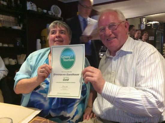 Greenacres Guesthouse: Gold award from Green Tourism which we achieved June 2015