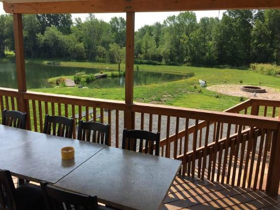 Lakeview Motel and Apartments: Balcony View of Lake and Fire Pit