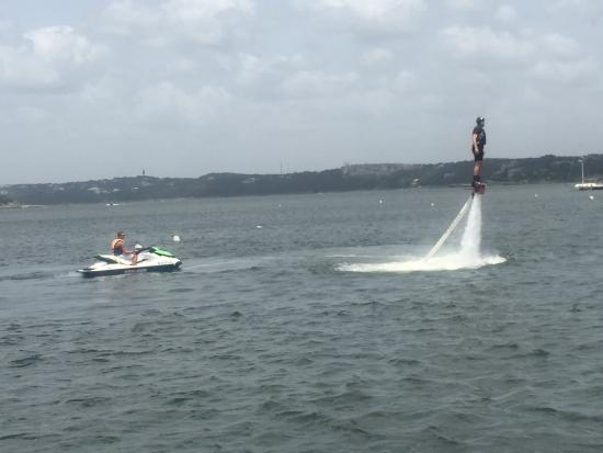 Aquafly Austin - A Flyboard Experience: Attached to the jet ski hose