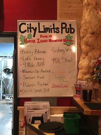 City Limits Pub: Brew board