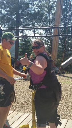 WildPlay Element Parks Kelowna : Getting harnessed in for the Primal Swing!