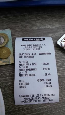 Aqualand: Cost of food.