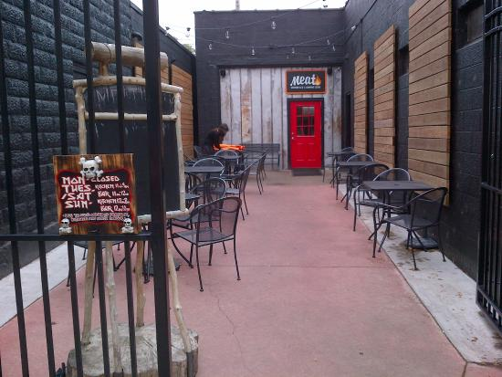 Meat Is Just On The Other Side Of The Red Door Picture Of Meat Bbq Lansing Tripadvisor