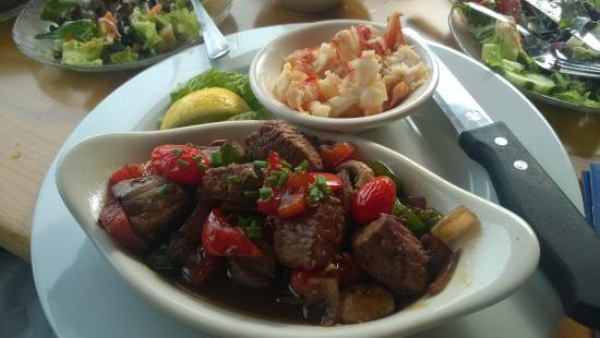 Lincolnville, ME: Sirloin Tips with Lobster