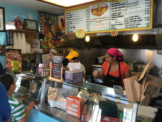Hot Diggity Dogs : Counter where you order and behind where they cook!