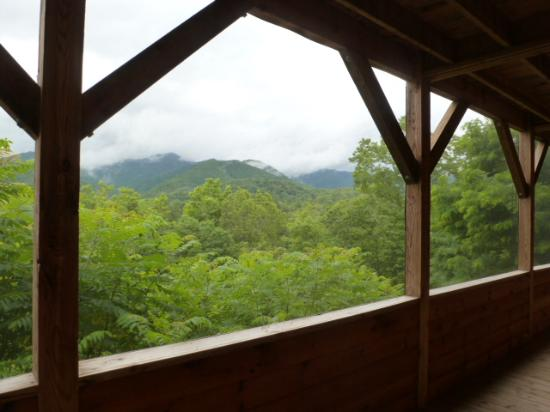 Lands Creek Log Cabins: view from lower porch