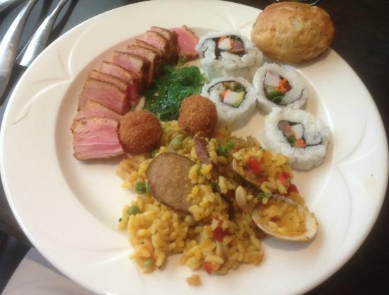 seared ahi tuna seafood paella and california rolls from doc bales rh tripadvisor com Seafood Buffet Display Best Seafood Buffet