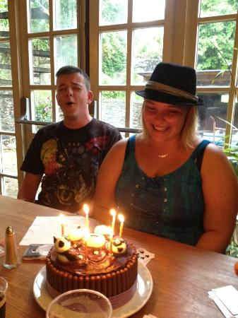 Priddy, UK: Panda Birthday Cake at The Queen Vic