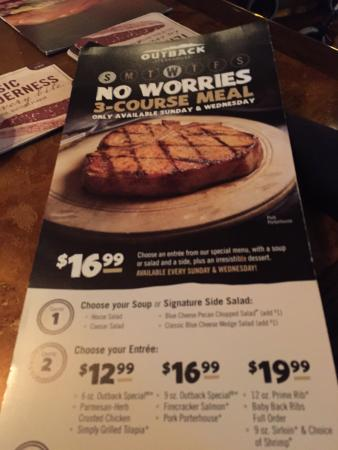 Outback Steakhouse Tamiami: No worries Wednesday and Sundays