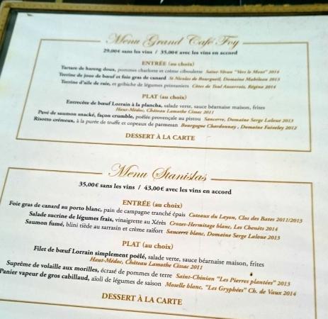 Grand Cafe Foy Menu