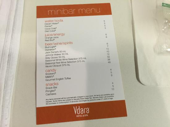 prices of items in the mini bar fridge. - picture of vdara hotel