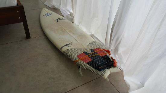 """Coconut Harrys Surf Shop and Surf School: My rental for the week - 6'4"""" Rusty - """"The Hustler"""" (a bit much foam but catches waves like craz"""